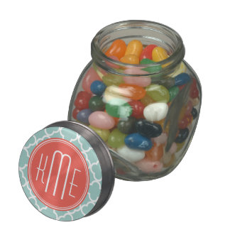 Mint and Coral Quatrefoil with Custom Monogram Glass Candy Jar