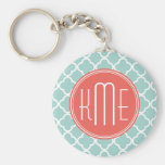 Mint and Coral Quatrefoil with Custom Monogram Keychain