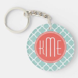 Mint and Coral Quatrefoil with Custom Monogram Double-Sided Round Acrylic Keychain