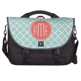 Mint and Coral Quatrefoil with Custom Monogram Bag For Laptop