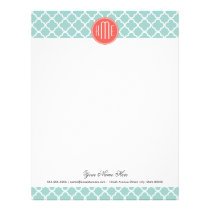 Mint and Coral Quatrefoil with Custom Monogram Letterhead