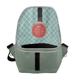 Mint and Coral Quatrefoil with Custom Monogram Courier Bags