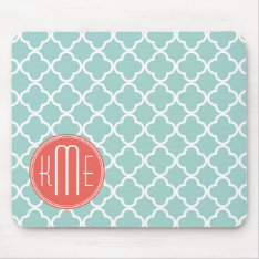 Mint And Coral Quatrefoil With Custom Monogram Mouse Pad at Zazzle
