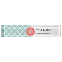Mint and Coral Quatrefoil with Custom Monogram Name Plate