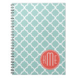 Mint and Coral Quatrefoil with Custom Monogram Spiral Notebook