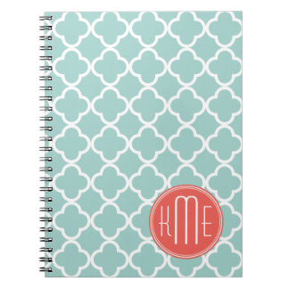 Mint and Coral Quatrefoil with Custom Monogram Notebook