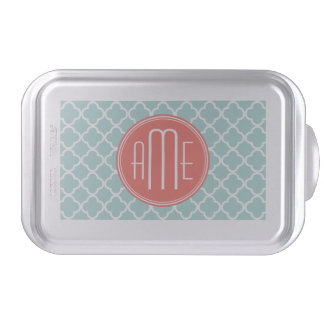 Mint and Coral Quatrefoil with Custom Monogram Cake Pan