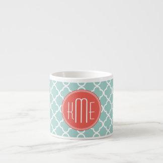 Mint and Coral Quatrefoil with Custom Monogram 6 Oz Ceramic Espresso Cup