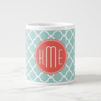 Mint and Coral Quatrefoil with Custom Monogram 20 Oz Large Ceramic Coffee Mug