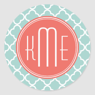 Mint and Coral Quatrefoil with Custom Monogram Classic Round Sticker