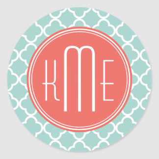Mint and Coral Quatrefoil with Custom Monogram Stickers