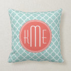 Mint and Coral Quatrefoil with Custom Monogram Throw Pillow