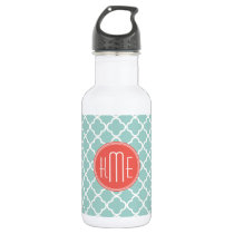 Mint and Coral Quatrefoil with Custom Monogram Water Bottle