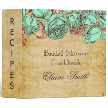 Mint and Coral Roses Bridal Recipe Folder