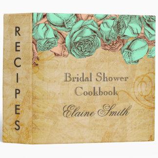 Mint and Coral Roses Bridal Recipe Folder Binders