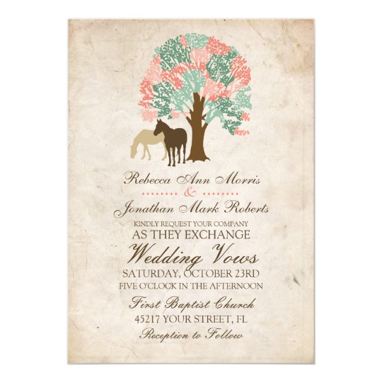 Coral And Mint Wedding Invitations: Mint And Coral Spring Horses Wedding Invitation
