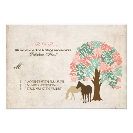 Mint and Coral Spring Horses Wedding RSVP Invite