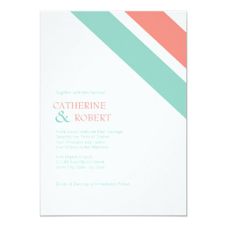 Mint and Coral Striped Wedding Invitation