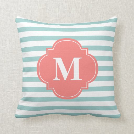 Mint and Coral Stripes Monogram Throw Pillows