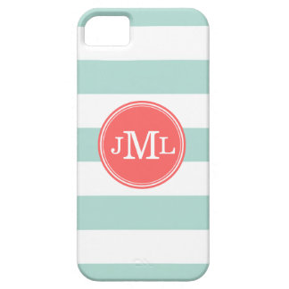 Mint and Coral Wide Stripe Monogram iPhone SE/5/5s Case