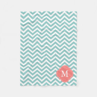 Mint and Coral Zigzag Pattern Monogram Fleece Blanket