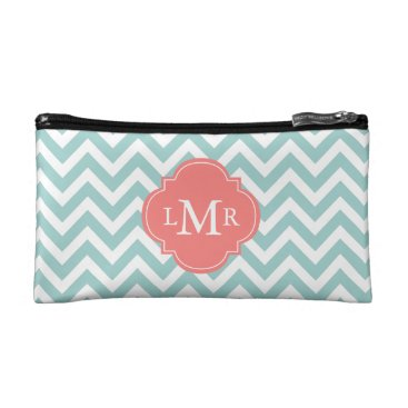 heartlocked Mint and Coral Zigzags Monogrammed Makeup Bag
