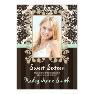 Mint and Dark Brown Vintage Damask Sweet Sixteen 5x7 Paper Invitation Card