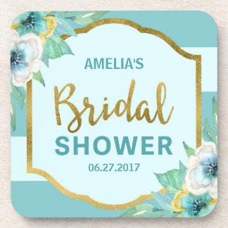 Mint and Faux Gold Floral Bridal Shower Beverage Coaster