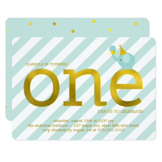 Mint and Faux Gold Foil Elephant Birthday Party Card