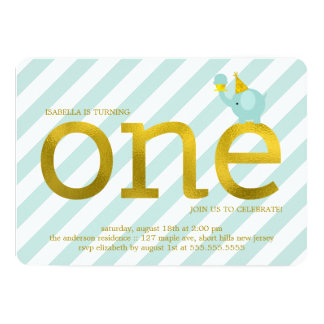 Mint and Faux Gold Foil Elephant Birthday Party 5x7 Paper Invitation Card