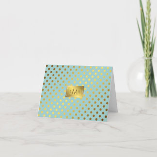 Mint and Faux Gold Foil Polka Dots Monogrammed Note Card