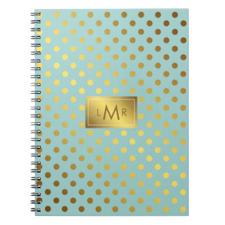 Mint and Faux Gold Foil Polka Dots Monogrammed Notebook