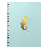 Mint and Faux Gold Foil Seahorse Personalized Notebook