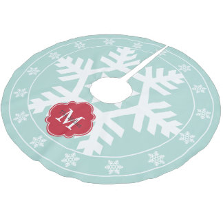 Mint and Festive Red Giant Snowflake Brushed Polyester Tree Skirt