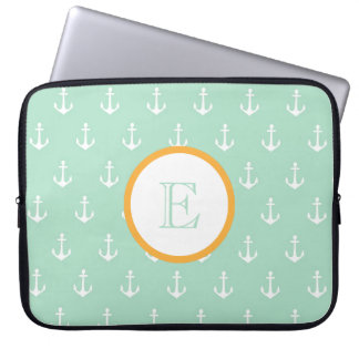 Mint and Gold Anchor Laptop Sleeve