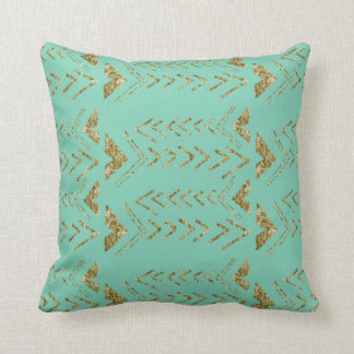 Mint and Gold Arrows Throw Pillow