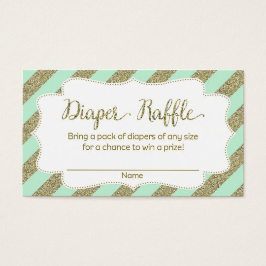 Mint And Gold Baby Shower Diaper Raffle Ticket