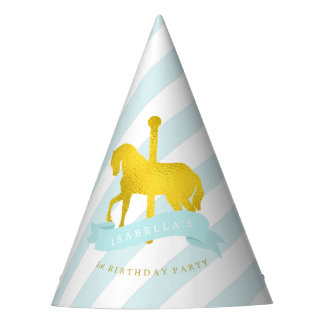 Mint and Gold Carousel Horse Girl's Birthday Party Hat