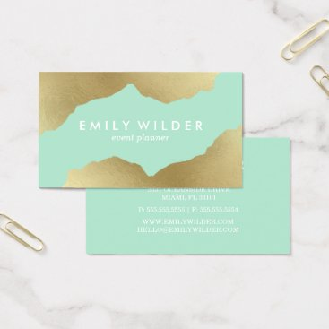 Professional Business Mint and Gold Dipped | Business Card