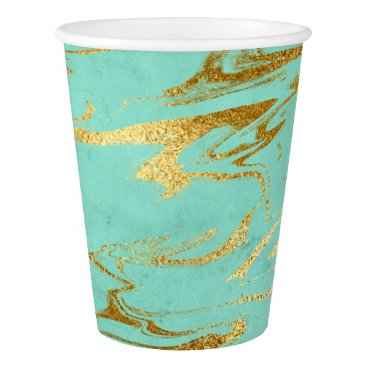 Beach Themed Mint and Gold Faux Foil Marble Pattern Paper Cup