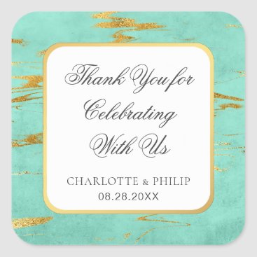 Beach Themed Mint and Gold Faux Foil Thank You Favor Square Sticker
