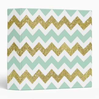 Mint and Gold Faux Glitter Chevron Binder