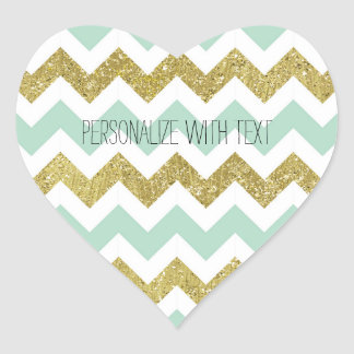 Mint and Gold Faux Glitter Chevron Heart Sticker