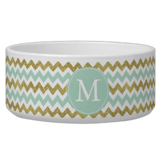 Mint and Gold Faux Glitter Chevron Monogram Dog Water Bowls