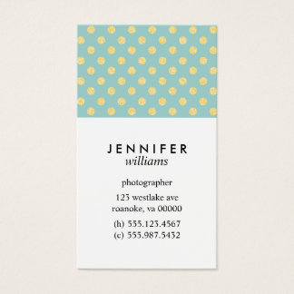 Mint and Gold Faux Glitter Dots Business Card