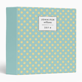 Mint and Gold Faux Glitter Dots Personalized 3 Ring Binder