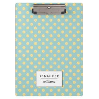 Mint and Gold Faux Glitter Dots Personalized Clipboard