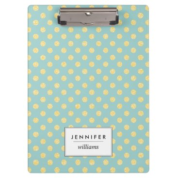 heartlocked Mint and Gold Faux Glitter Dots Personalized Clipboard