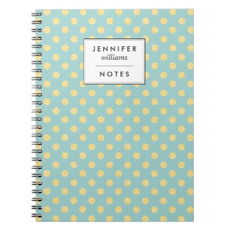 Mint and Gold Faux Glitter Dots Personalized Notebook