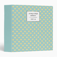 Mint and Gold Faux Glitter Dots Personalized Vinyl Binder
